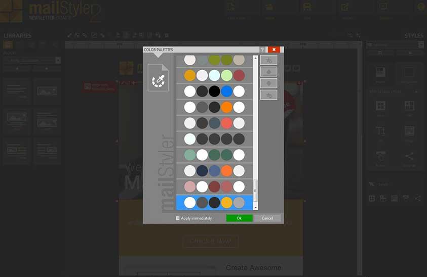 استفاده از پالت رنگ برای تغییر رنگ قالب در Mailstyler 2