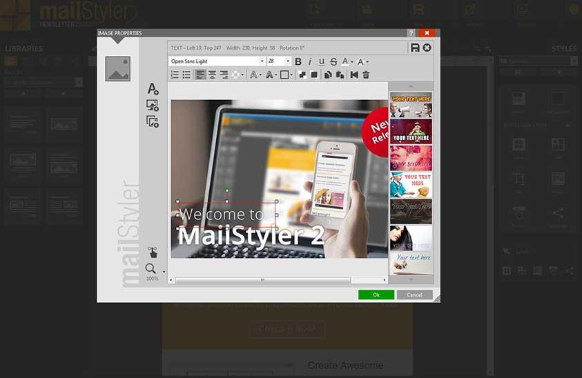 ویرایش انواع متون با ویرایشگر متن در mailstyler 2