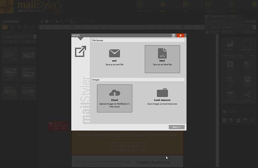 خروجی HTML قالب ساخته شده در mailstyler 2