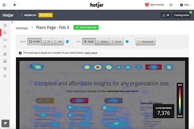 ابزار بازاریابی دیجیتال از طریق وبسایت Hotjar